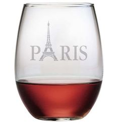 Paris ~ Stemless Wine Glasses ~ Set of 4 Each Paris stemless wine glass is cleverly designed with the Eiffel Tower as the letter A. Each of these stemless wine glasses is individually sand etched. Eac