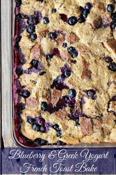 Delicious Make-Ahead Blueberry & Greek Yogurt French Toast Bake. Flavored with lemon for a perfect summertime breakfast recipe. 195 calories and 5 ww points