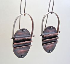 "Fold Formed Copper, Brass, and Sterling Silver earrings with leaf print - cold connected and oxidized. ""Ripples"" swing back and forth- OOAK"