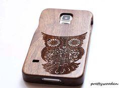 owl-wood-samsung-galaxy-s5-casewooden. Houten Samsung galaxy s5 telefoon hoesje.