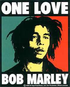 "Bob Marley ""One Love"" Sticker - $4.00  4"" x 5"" rectangle sticker with the rasta king Bob Marley. Officially licensed Bob Marley merchandise."