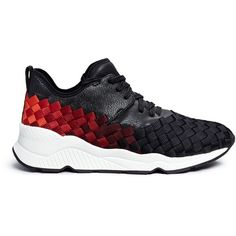 Ash 'Match' dégrade woven sneakers ($195) ❤ liked on Polyvore featuring shoes, sneakers, black, woven shoes, ash footwear, synthetic shoes, braided shoes and black sneakers