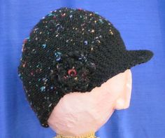 Black Speckle knit Hat set by katewalter1 on Etsy, $45.00