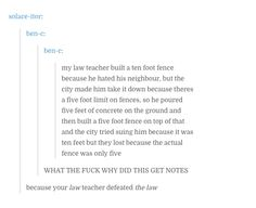 law teacher fighting the law and winning (anecdote) excuse the language
