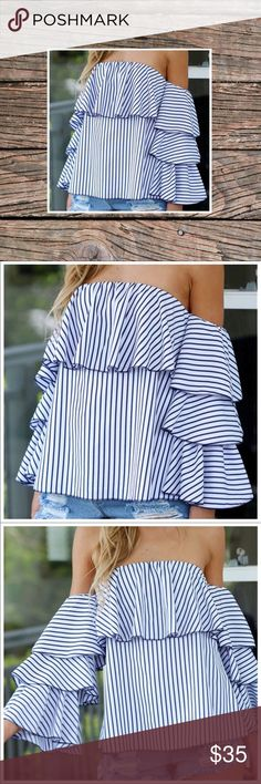 """🦋Off The Shoulder Ruffle Top 🍃Gorgeous ruffles adorn this on-trend ots blouse. Ruffled sleeves, blue and white pin stripes throughout-simply stunning.🍃 All measurements are approximate!  ▪️Pit to Pit: Up to 18"""" w/ full stretch ▪️Length: 19"""" Tops Blouses"""
