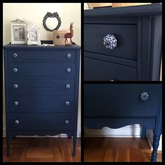 ": ""Tallboy five drawer dresser. Hand painted in a custom mix of Annie Sloan 40% Napoleanic Blue & 60% Graphite…"""