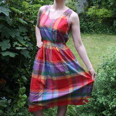 '60s Summer Dress Check-Print