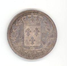 French Franc Coin 1824 - Louis XVIII