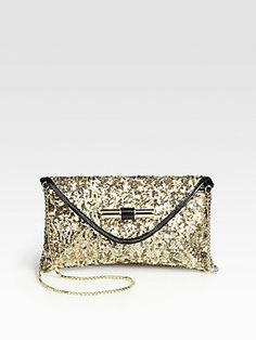 Jimmy Choo Canisa Sequins & Patent Leather Clutch
