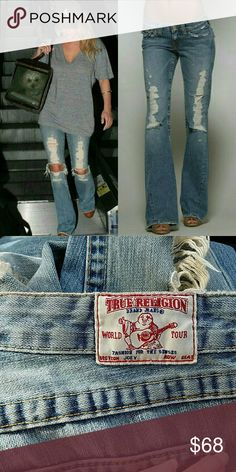 True Religion Distressed Jeans  Daisy Duke True religion light wash distressed jeans. Flap button back pockets. 100% authentic. The same jeans worn by Jessica Simpson in the dukes of hazard where she played Daisy Duke True Religion Jeans
