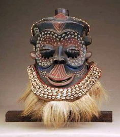 Africa | Mask from the Luba Shankadi people of DR Congo | Wood, paint, beads, animal skin and cowrie shells