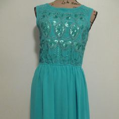 Blue Turquoise Sequined Dress