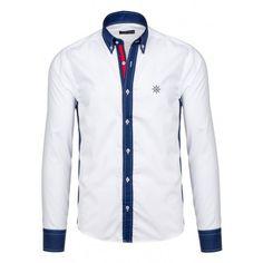 Pánska biela košeľa s modrám lemovaním - fashionday.eu Summer Collection, Motorcycle Jacket, Shirt Dress, Suits, Nike, Jeans, Mens Tops, Jackets, Dresses