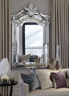Venetian mirror. Gorgeous, soft color palette. http://www.crystalglass.ca/ https://www.facebook.com/crystalglassltd https://twitter.com/CrystalGlassLTD https://www.youtube.com/user/crystalglassltd