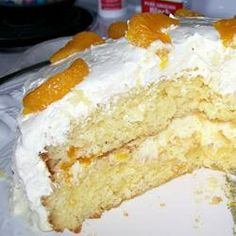 Pineapple Mandarin Orange Cake-one of my favorite cakes ever! I change the cake batter though, instead of using eggs and oil, I do a cup of Greek yogurt and a cup of orange juice. I would also maybe use cheesecake or white chocolate flavored pudding mix. it's SO GOOD