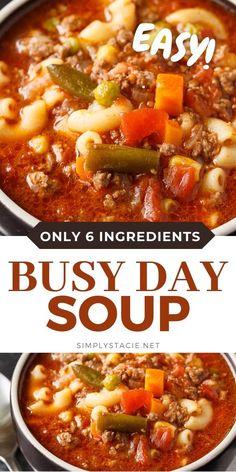 Easy Soup Recipes, Easy Dinner Recipes, Easy Meals, Chili Recipes, Health Soup Recipes, Healthy Crockpot Soup Recipes, Beef Broth Soup Recipes, Soup With Beef Broth, Instapot Soup Recipes