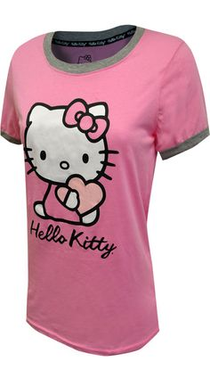 This Hello Kitty t-shirt is sure to become a wardrobe basic! This junior cut ringer style tee for women features Hello Kitty on a pretty pink. These tees are machine washable and easy to care for. Length finishes at hip. Hello Kitty T Shirt, Best Pajamas, Ringer Tee, Tees For Women, Pretty In Pink, Lounge Wear, Under Armour, Women's Loungewear, Girl Fashion
