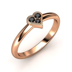 The Modern Heart Ring customized in black diamond and rose gold