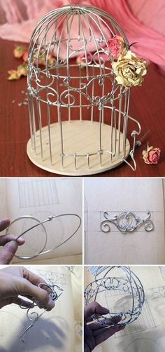How to make decorative wire birdcage. Click on image to see step-by-step tutorial