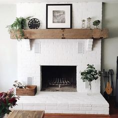white fireplace brick / white fireplace ` white fireplace brick ` white fireplace decor ` white fireplace mantels ` white fireplace with wood mantle ` white fireplace ideas ` white fireplace surround ` white fireplace stone White Painted Fireplace, Brick Fireplace Mantles, Painted Brick Fireplaces, Brick Fireplace Makeover, Farmhouse Fireplace, Fireplace Design, Fireplace Ideas, Rustic Farmhouse, Farmhouse Style