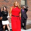 Queen Latifah leaves The Late Show with David Letterman at Ed Sullivan Theater in New York City.
