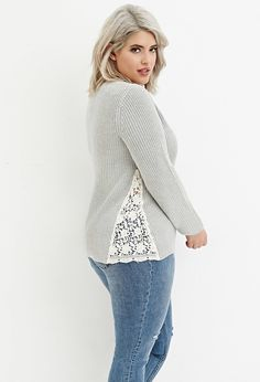 Plus Size Floral Crochet-Paneled Rib Sweater | Forever 21 PLUS - 2000140641