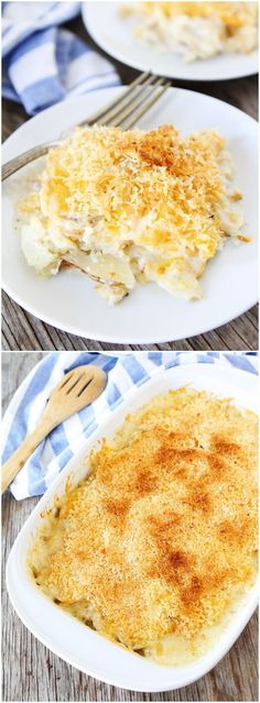 Parmesan Crusted Scalloped Potatoes Recipe on twopeasandtheirpod.com The perfect side dish for Easter! This recipe is always a hit!