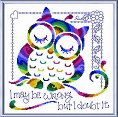 I Know Im Right cross stitch pattern designed by Ursula Michael.