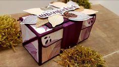 "Anleitung: Diagonale Klappbox mit dem Produktpaket ""Kraft der Natur"" von... Stampin Up Anleitung, Diy And Crafts, Paper Crafts, Packing Boxes, Treat Holder, Wood Crates, Stamping Up, Bag Making, Party Favors"