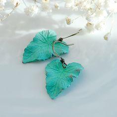Heart shaped leaf patina earrings