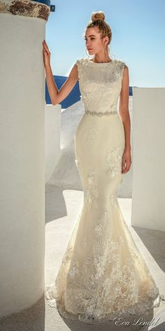 eva lendel 2017 bridal sleeveless jewel neckline heavily embellished bodice elegant fit and flare wedding dress full lace back sweep train (maya) mv