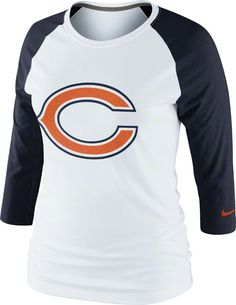 Chicago Bears Women's 3rd 'N' Long 3/4 Sleeve Raglan Shirt by Nike $33.95