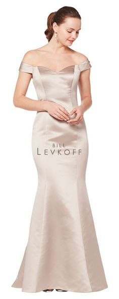 1ac864482f4d1 Free US Shipping & Rush Cut Available - Bill Levkoff Bridesmaid Dress Style  1616 - European Satin off-the-shoulder portrait neckline gown with princess  ...