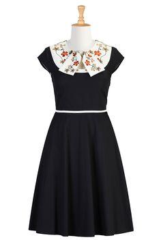 1930s dresses fashion eShakti Women's Bow front floral embellished dress @vintagedancer