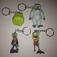 Plants vs Zombies Keychain  YOU CHOOSE  repurposed toys by ErinEtc, $7.99