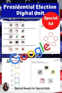 This unit on the presidential election 2020 has 175 pages, 46 google slides and a 12 day lesson plan. It was created for students with autism and special learning needs in middle and high school. It has a book, vocabulary, activities, and assessment. Activities have a digital version for google classroom. #specialneedsforspecialkids #specialeducation #specialed #election #republicans #democrats #usgovernment #presidentialelection #presidentialelection2020 #election2020 #distancelearning Vocabulary Cards, Vocabulary Activities, Class Activities, Teaching Social Studies, Student Teaching, Presidential Election Process, Circle Map, Special Education Classroom, Google Classroom