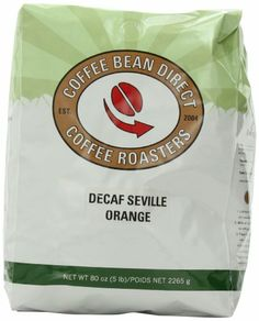 Coffee Bean Direct Decaf Seville Orange Flavored, Whole Bean Coffee, 5-Pound Bag - http://www.teacoffeestore.com/coffee-bean-direct-decaf-seville-orange-flavored-whole-bean-coffee-5-pound-bag/