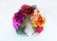 Mexican Flower Crown Day of the Dead Headpiece Frida Flower Flower Crown Headband, Flower Headpiece, Flower Crowns, Headband Hair, Bride Flowers, Felt Flowers, Mexican Hairstyles, Corona Floral, Mexican Flowers