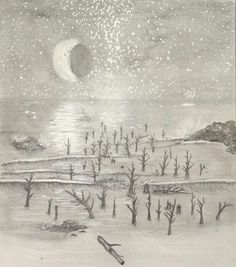 Another old picture I drew of a space scene with a planet reflecting over the shore. Done in grey pencils and I used whiteout for the stars :)