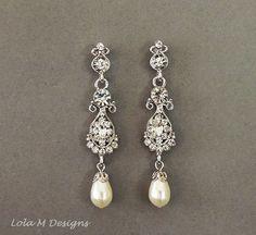 Gold Bridal Earrings Swarovski pearl crystal by Lolambridal, $59.00