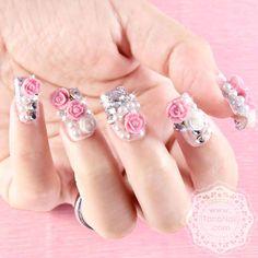 Japanese 3D Nail Art, Press On Nails, False Nails - White  Pink Rose (T126N). $26.00, via Etsy.