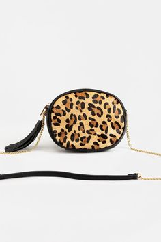 Leonor Leopard Crossbody Zipper, Handbags, Cute, Tassel, Closure, Shopping, Black, Clothes, Collection