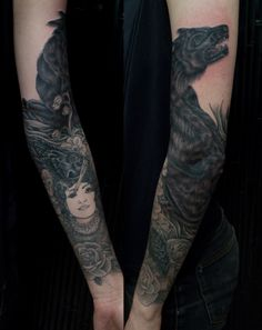 black raven, roses, wolf & woman #arm #tattoos Encontrado en media.tumblr.com