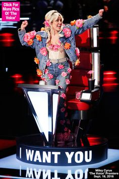 Miley Cyrus Rocks Denim Suit Covered In Fake Flowers On 'The Voice'Premiere