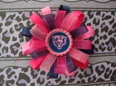 Chicago Bears Pink Loopy Organza Hair Bow by AshleyAnnBowtique, $5.00