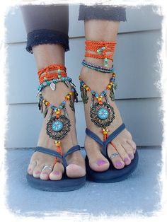 Hey, I found this really awesome Etsy listing at https://www.etsy.com/listing/208515655/flower-mandala-barefoot-sandals-orange