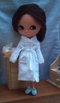 Blythe bathrobe, shower cap and slippers www.RainbowDaisies.etsy.com