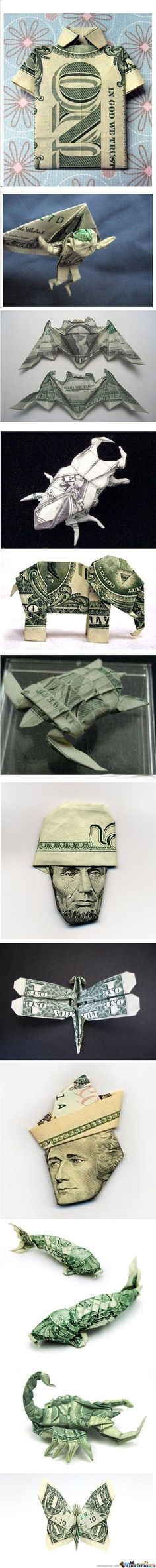 Money origami. Great way to gift cash!