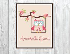 Owl Nursery Wall Art, 8x10 wall art, Nusery Decor, Personalized Girl Owl & Swing Wall Art