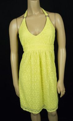 VICTORIA'S SECRET Dress M Bra Tops Bold Summer Yellow Eyelet Neck Tie Halter
